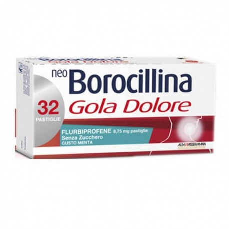 NEOBOROCILLINA GOLA DOLORE 32 PASTIGLIE MENTA SENZA ZUCCHERO