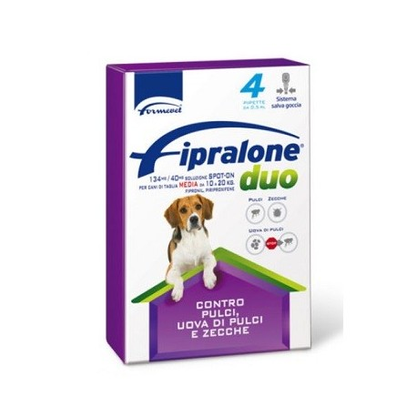FIPRALONE DUO CANI 10-20KG 4 PIPETTE 1,34 ML 134MG/40MG