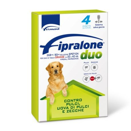 FIPRALONE DUO CANI 20-40KG 4 PIPETTE 2,68 ML 268MG/80MG