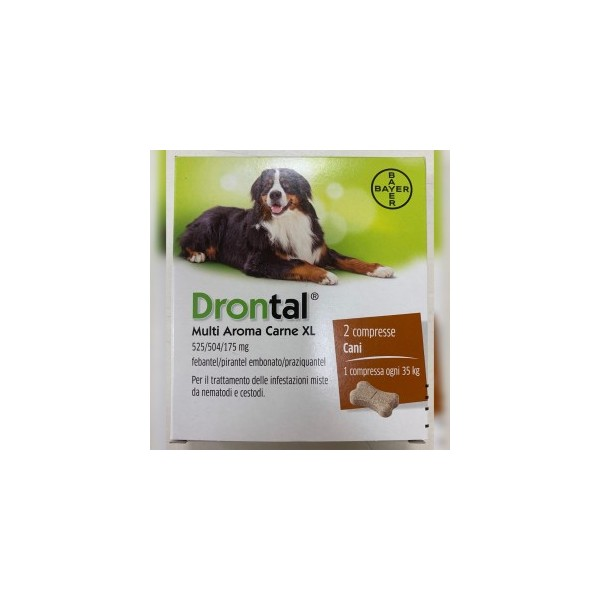 DRONTAL PLUS FLAVOUR XL 2 COMPRESSE - NUOVA CONFEZIONE DRONTAL MULTI AROMA CARNE XL 2 COMPRESSE