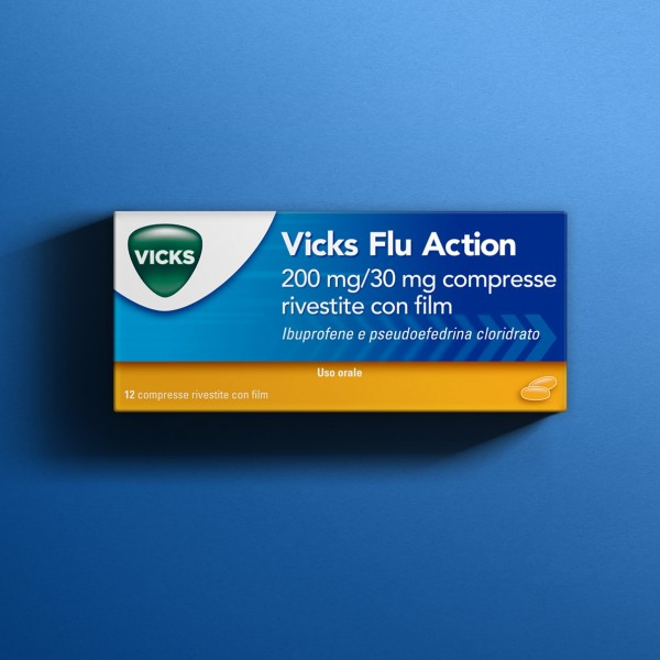 VICKS FLU ACTION 12 COMPRESSE 200MG + 30 MG